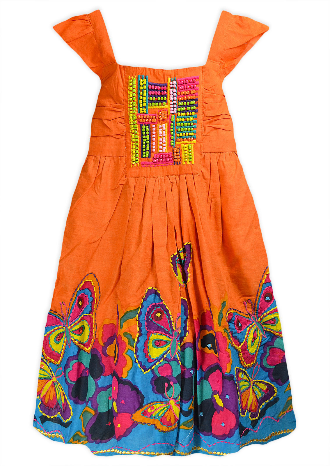 Girls Floral Summer Dress Kids Cotton Beaded Party Sun