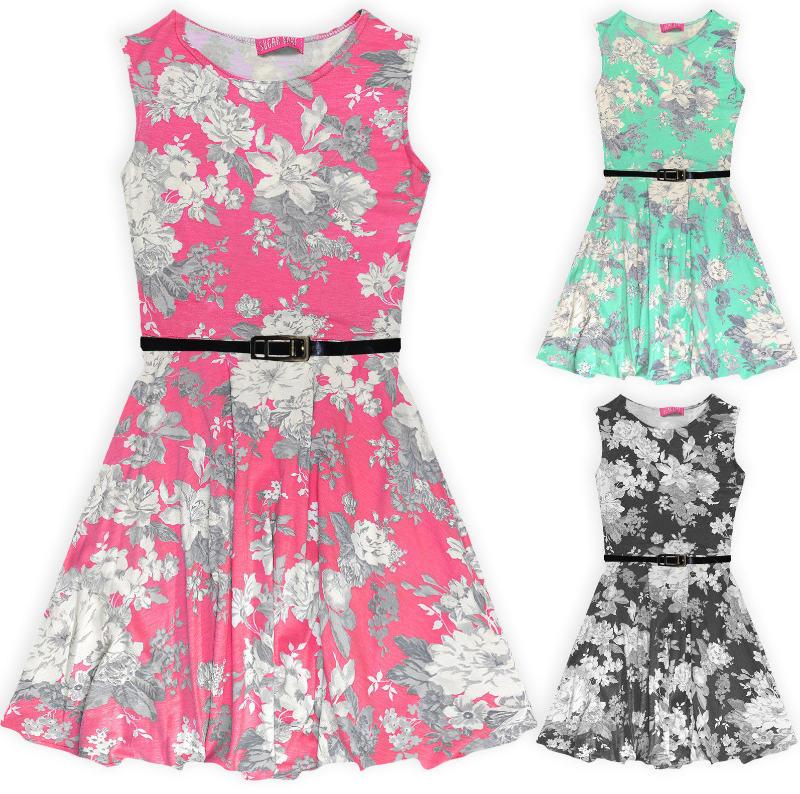 Details about Girls Floral Skater Dress Kids Summer Belted Sun Dresses New  Black Age 7,13 Year
