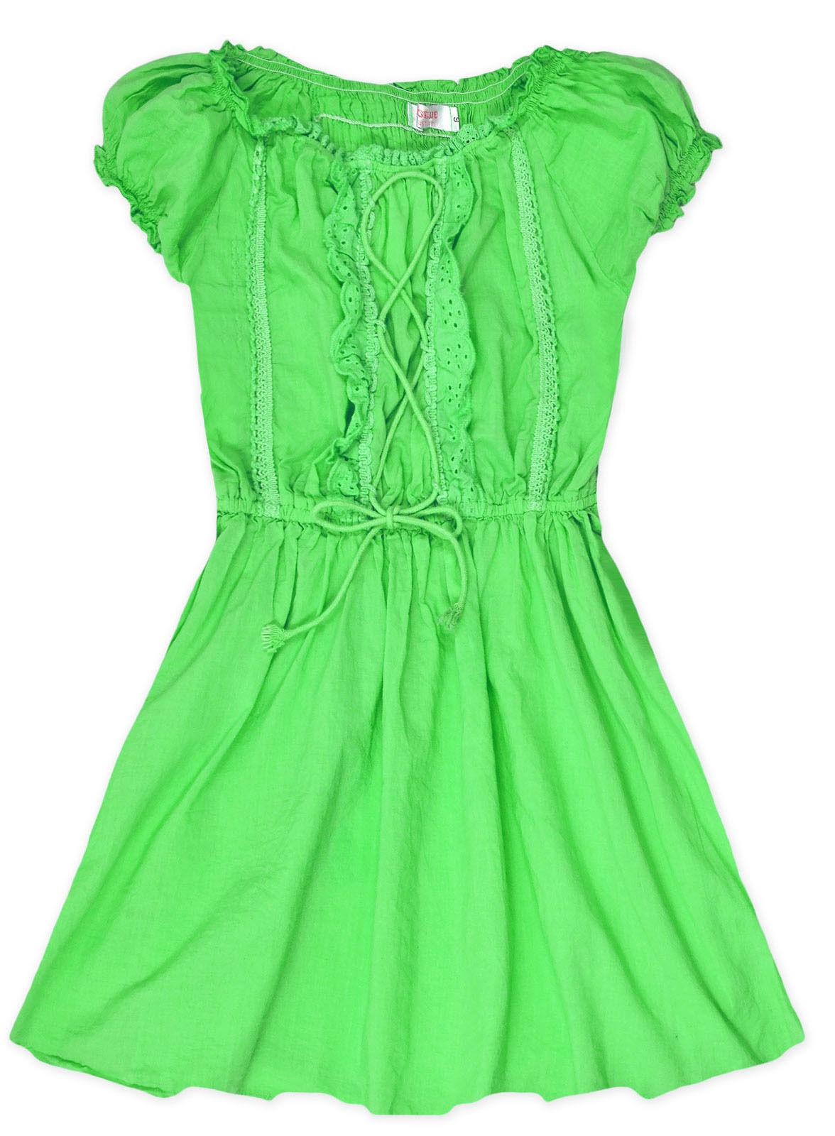 Girls Short Sleeved Gypsy Dress Frill Neck Kids Dresses New Age 3 4 5 6 7 8 Year