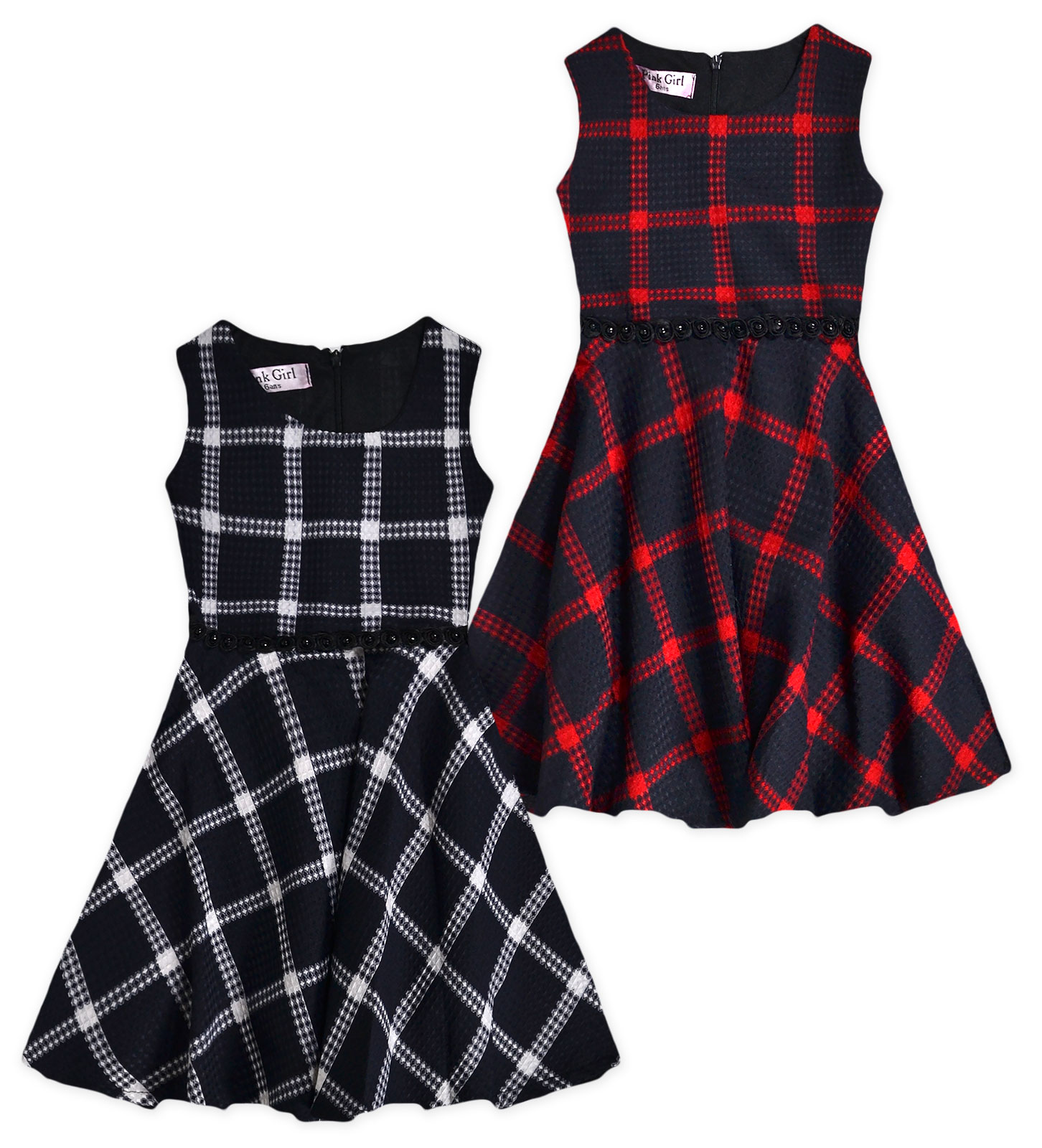 Girls Sleeveless Winter Check Skater Dress New Kids Party Dresses Ages 3-12  Yrs 613c5cf95