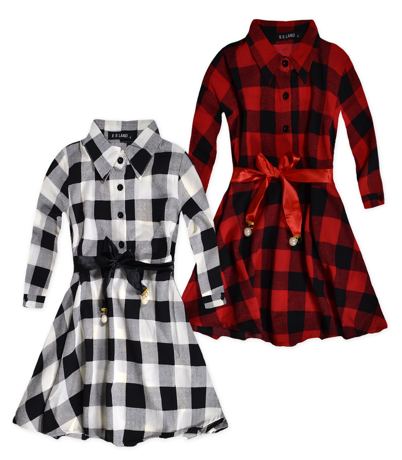 girls long sleeved check shirt dress new girls checked