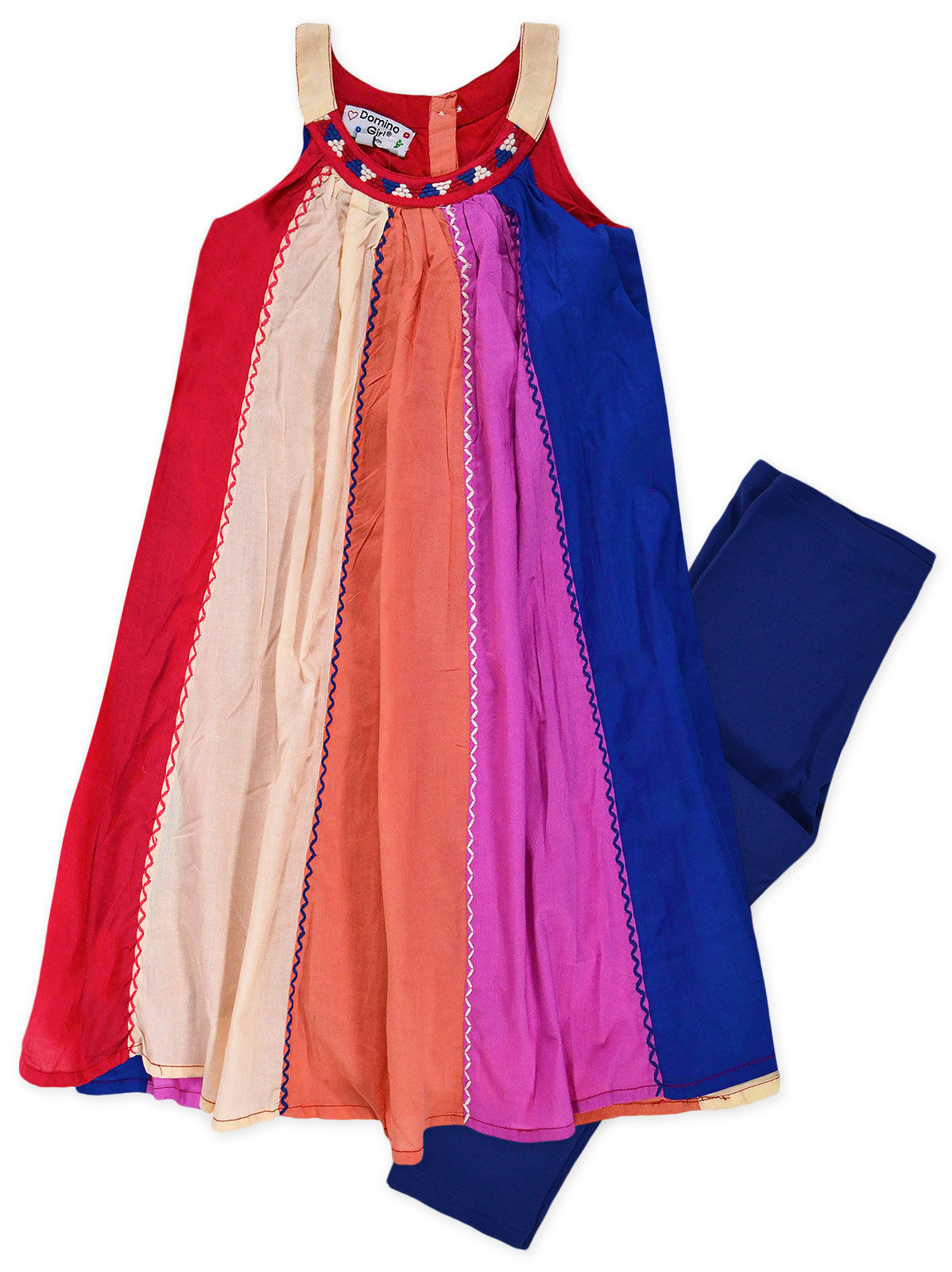 Girls Dress Legging Set New Kids Lace Bow Chiffon Tunic Top Outfit Ages 2-10 Yrs