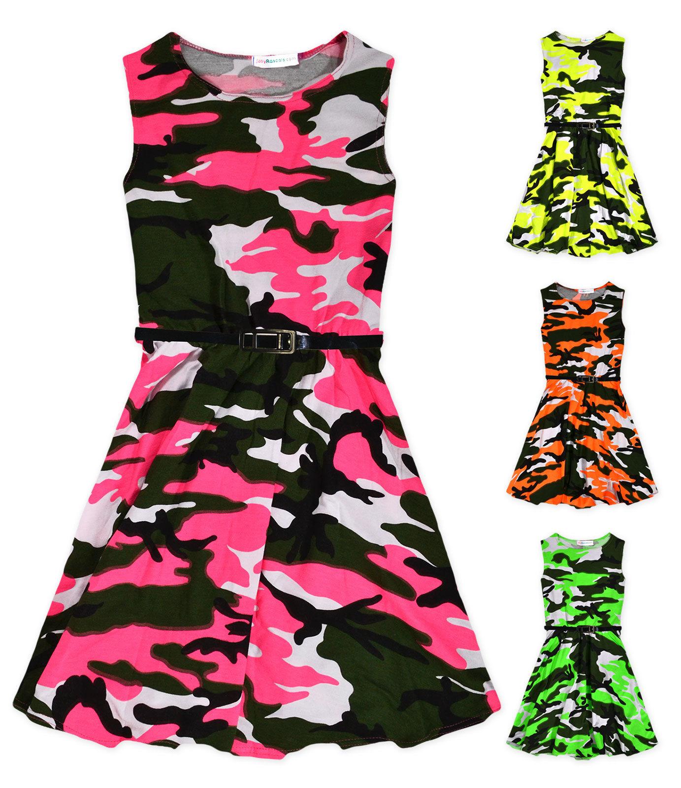 Girls Skater Dress Kids Neon Floral Print Summer Party Dresses 7-13 Years