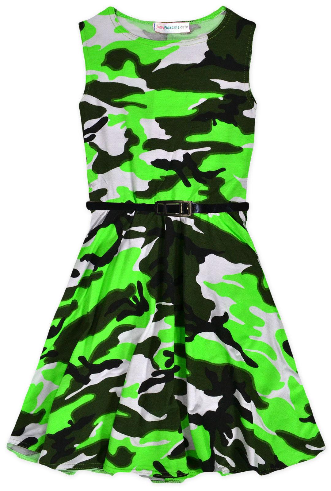 Girls Neon Camouflage Skater Dress New Kids Sleeveless