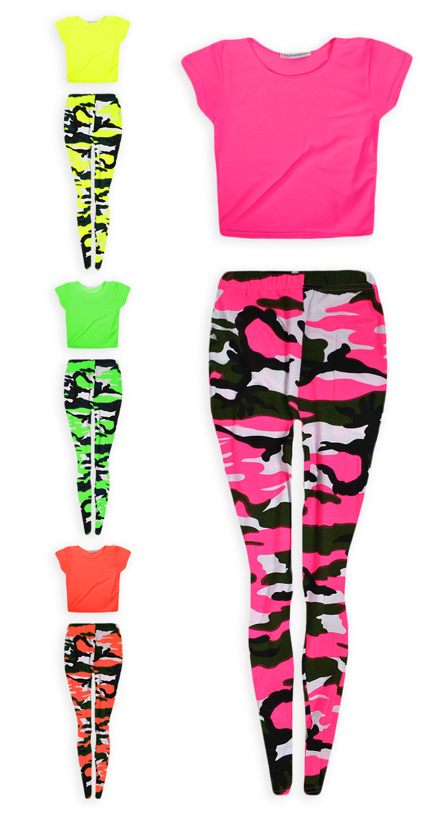 9625462948fe37 Details about Girls Dance Set Neon Crop Top And Camo Legging 2 Piece Set  New Kids Age 7-13 Yrs