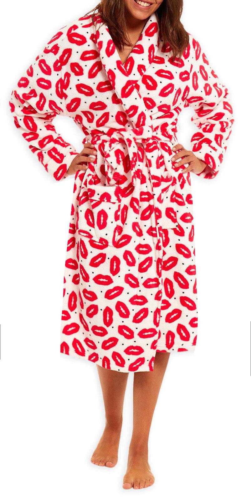 Ladies Dressing Gown New Womens Pink Lip Print Pout Fleece Bathrobe ...