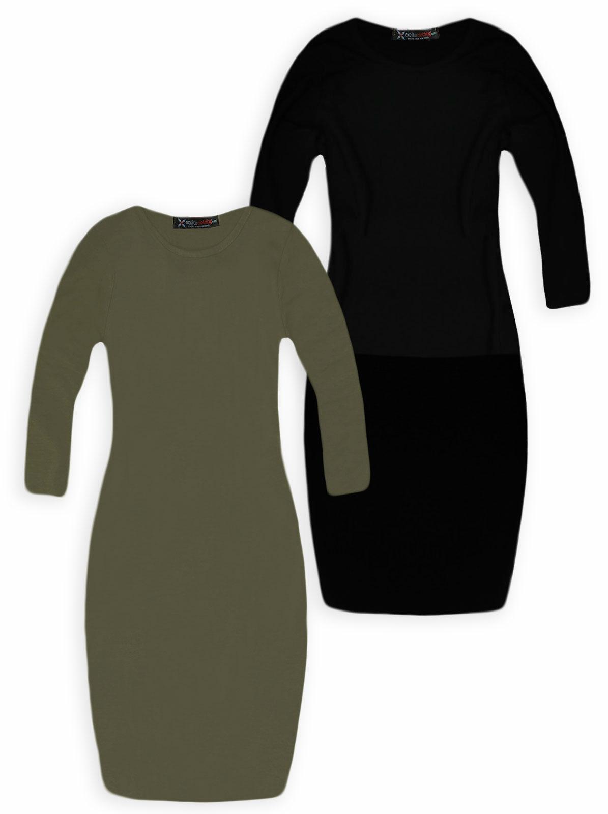 1ae04558ff96 Girls Midi Dress New Kids Long Sleeved Bodycon Dresses Black Khaki 5-13  Years