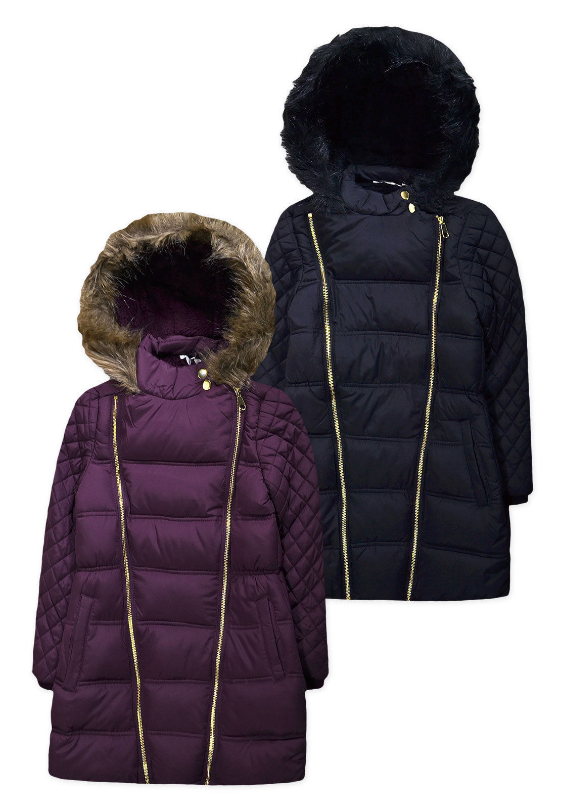 435903adf Girls Coat New Kids Quilted Padded Fur Trimmed School Plain Jacket 6 ...