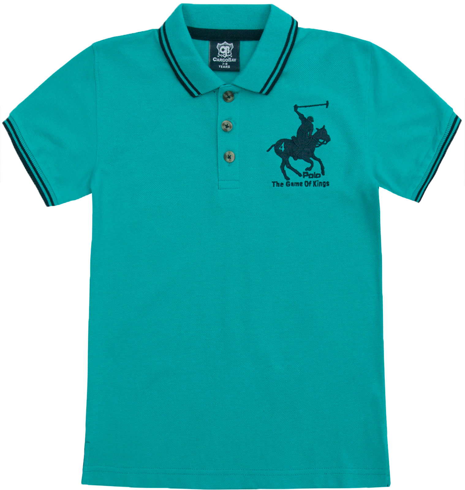 Boys-T-Shirt-Horse-Embroidery-Polo-Cotton-Top-Age-2-3-4-5-6-7-8-9-10-11-12-13-Yr thumbnail 14