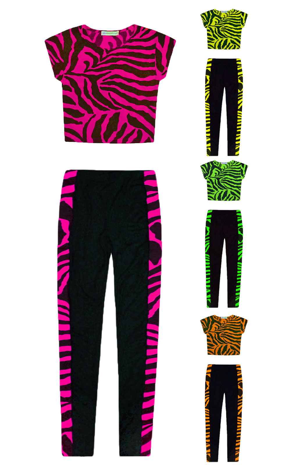 7f2ebc49ca8ad5 Girls Dance Set Neon Crop Top And Zebra Legging 2 Piece Set New Kids Age 5-13  Yr