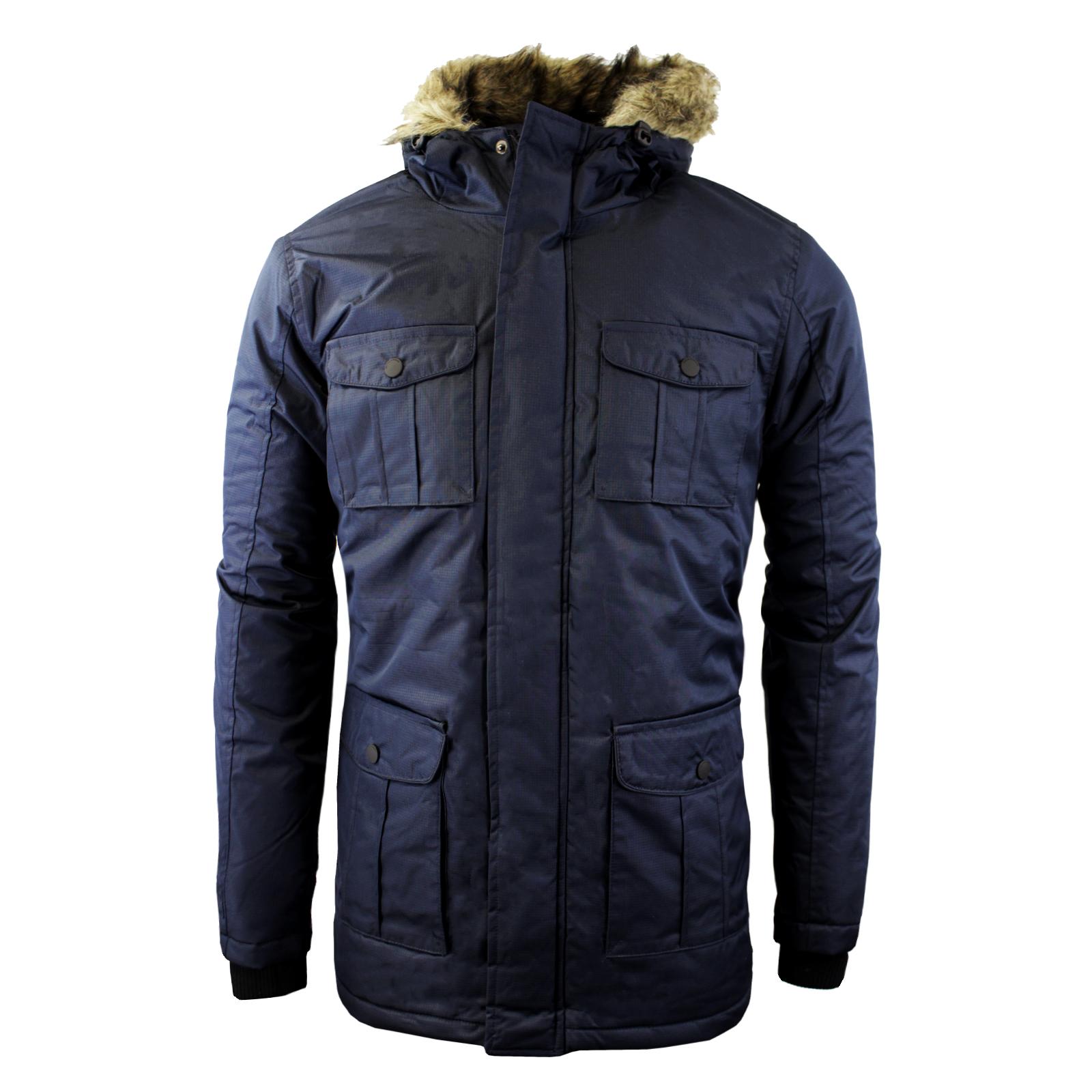 Mens Winter Coat by Brave Soul 'Canadian' Hooded Parka