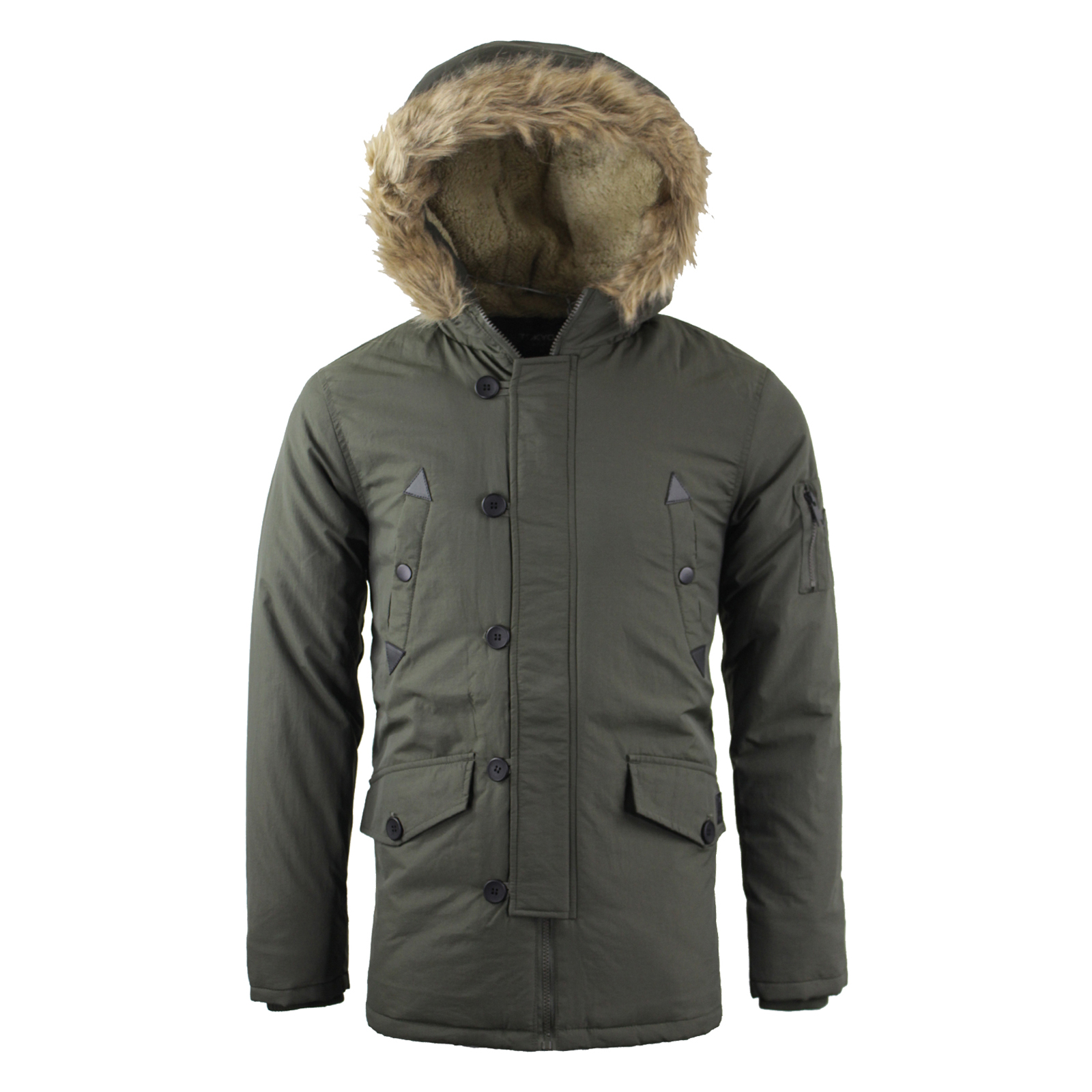 Mens Tokyo Lee Parka Parker Padded Lined Winter Jacket Faux Fur ...