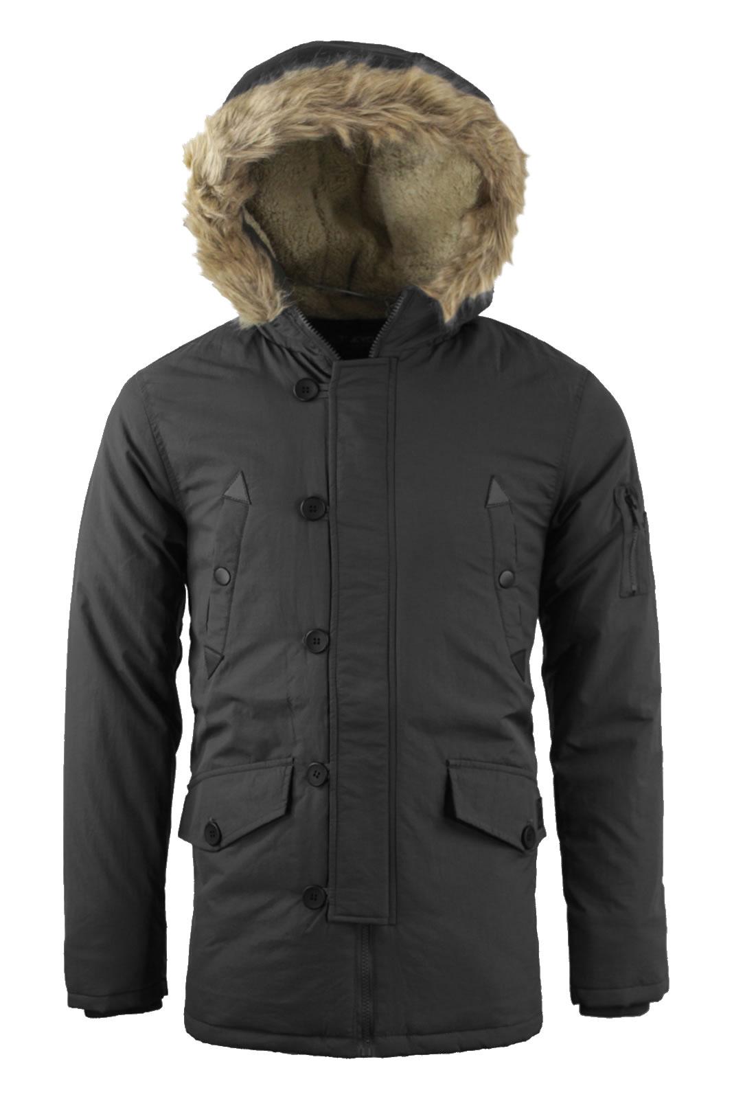 Mens Tokyo Lee Parka Parker Padded Lined Winter Jacket
