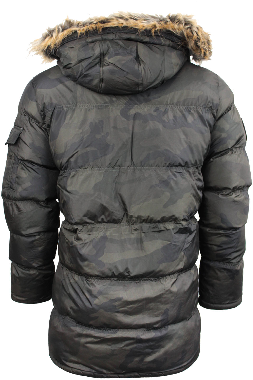 9f133dc862055 Mens Winter Coat by Brave Soul Camo Hooded Parka Fur Hood Jacket Padded S  to XL