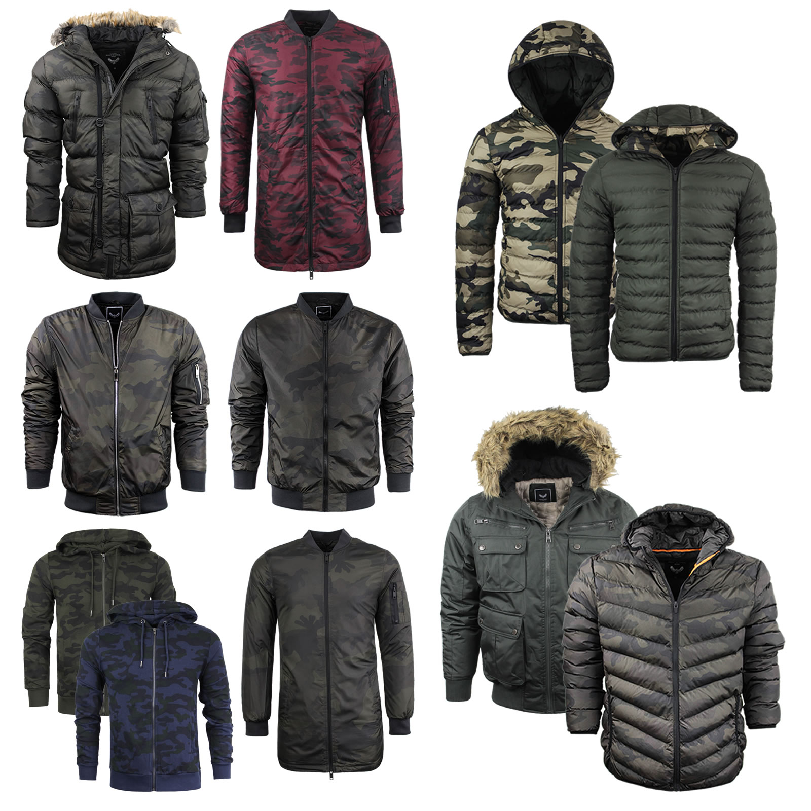Details about Mens Brave Soul Camo Jacket Coat Hooded Khaki Puffer Parka  Bomber Padded 647058f4972