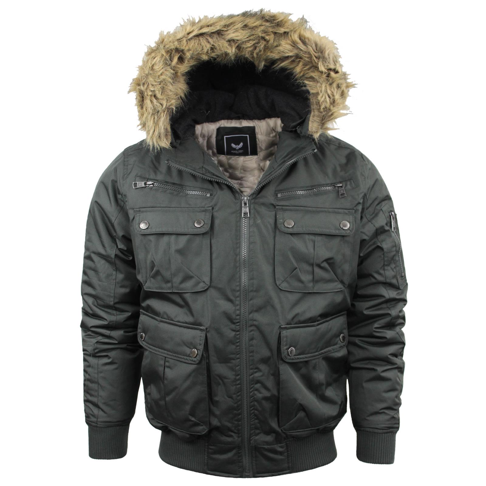 Mens Brave Soul Camo Jacket Coat Hooded Khaki Puffer Parka Bomber ...