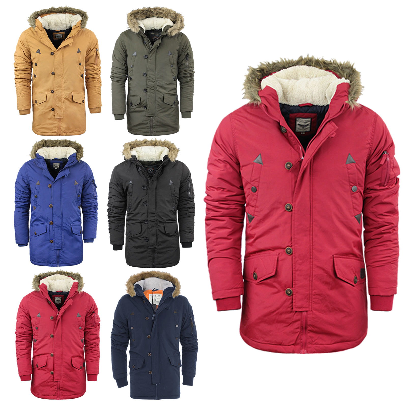 Brave Soul Mens Heavy Weight Fur Hood Parka Padded Winter