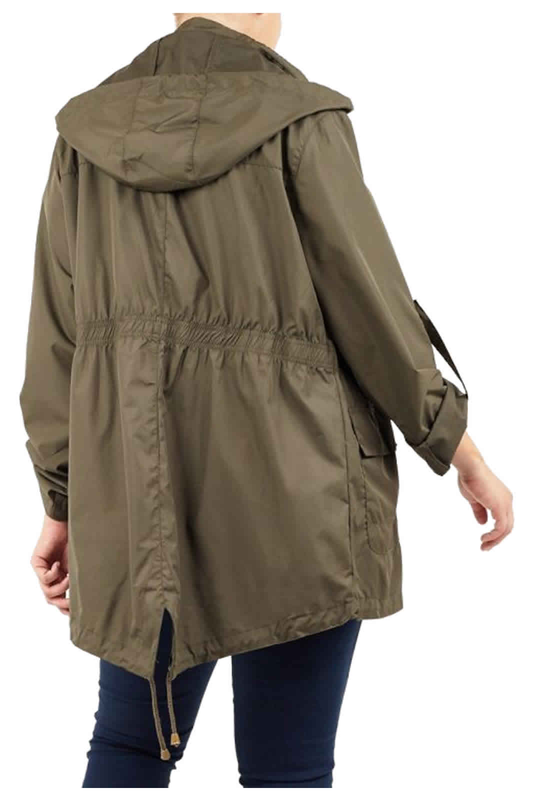 Womens Raincoat Ladies Shower Rain Kagool Parka Hooded Jacket Coat