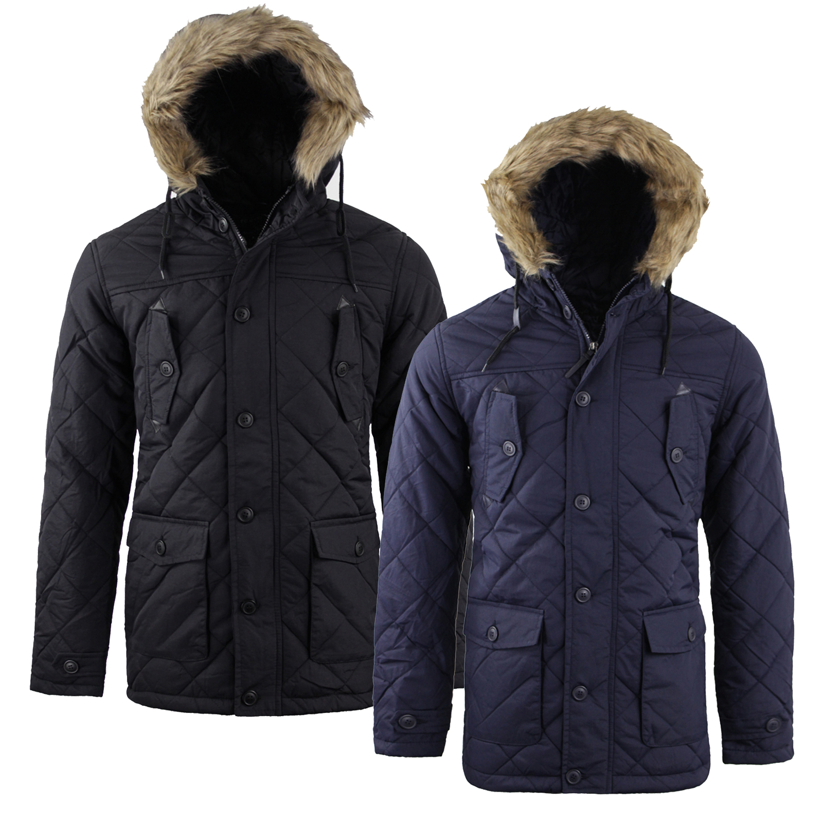 659602999 Details about Mens Tokyo Lee Quilted Padded Faux Fur Trim Hood Parka Winter  Coat NEW AW1718