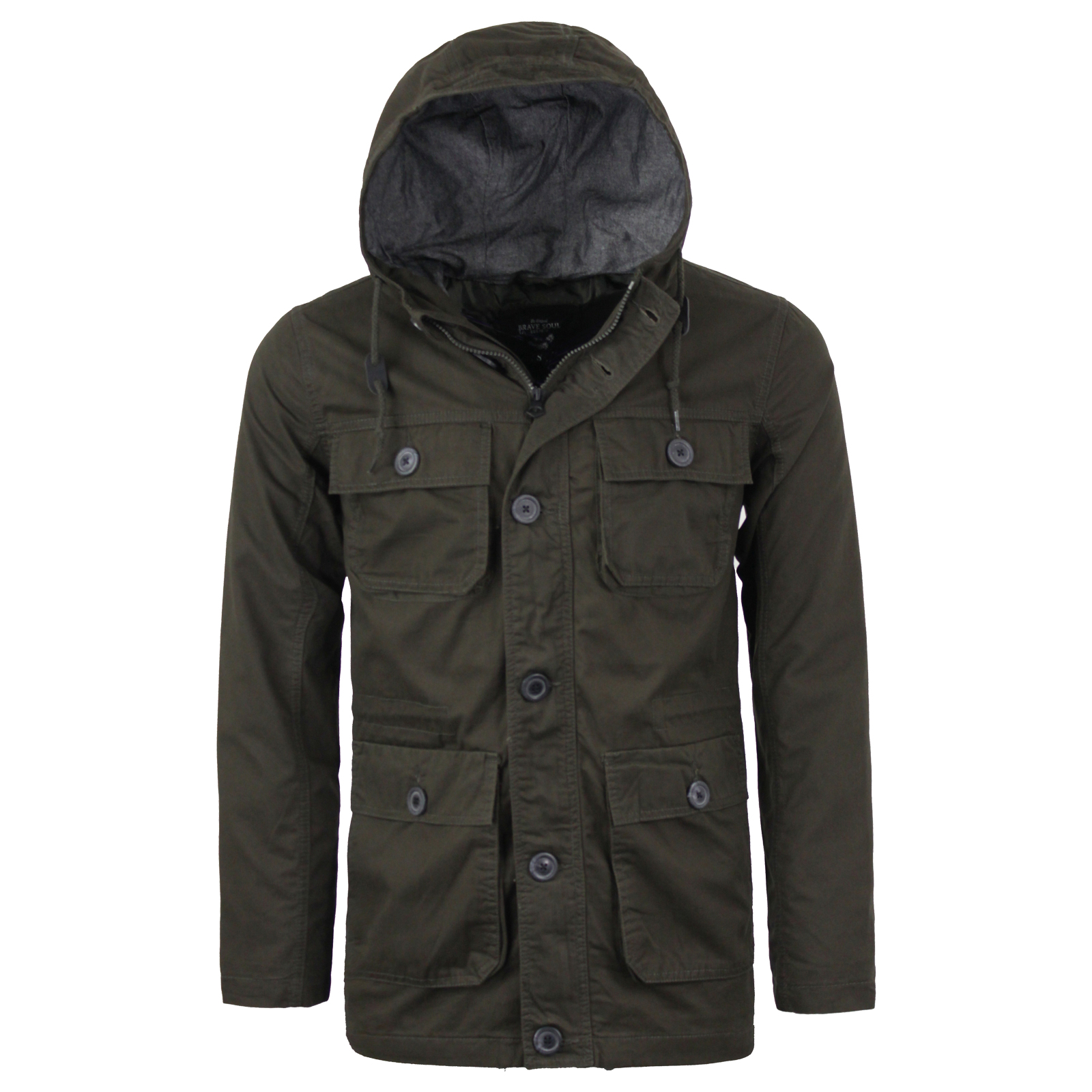 24fc8a7f234 Details about Mens Brave Soul Lightweight Cotton Hooded Military Style  Jacket New Sizes S-XL