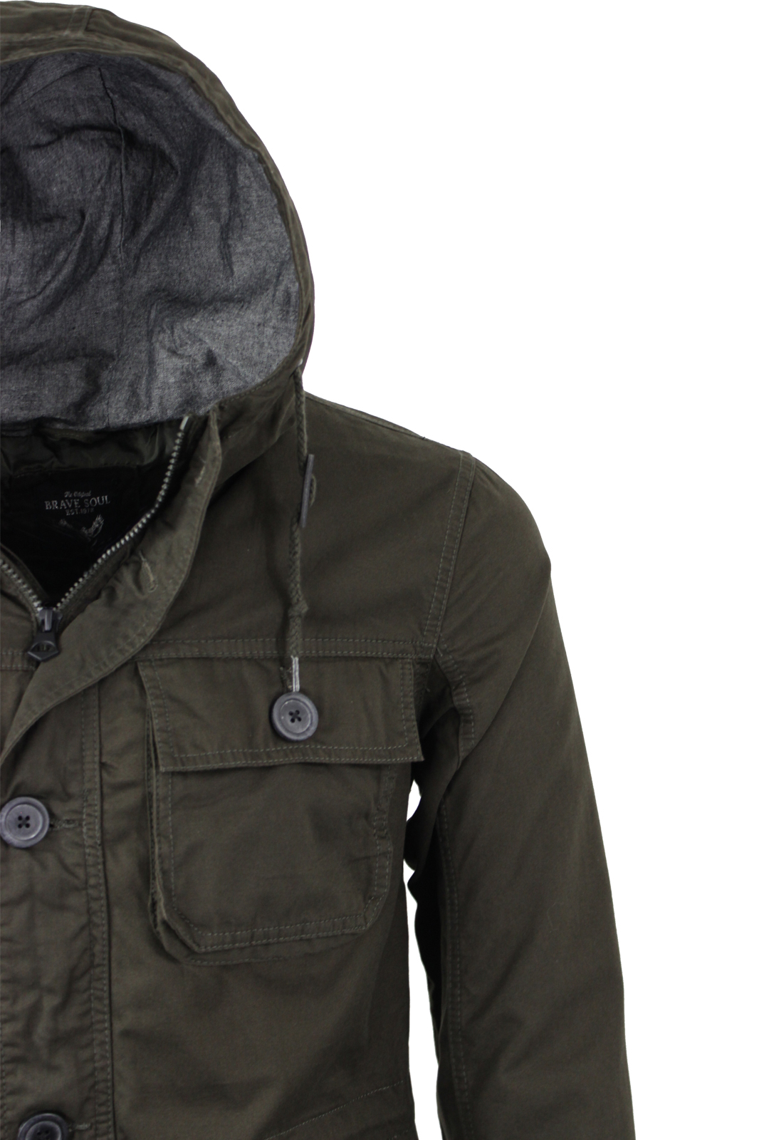 Mens Brave Soul Lightweight Cotton Hooded Military Style Jacket New Sizes S-XL