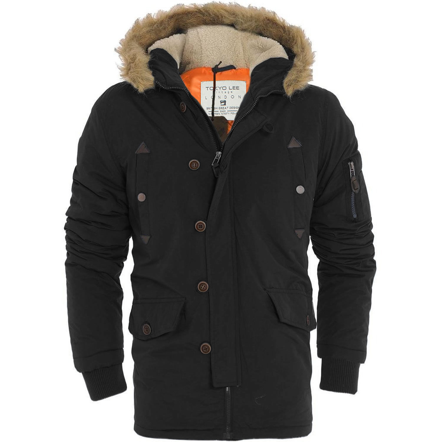 Mens Tokyo Lee Parka Parker Padded Lined Winter Jacket