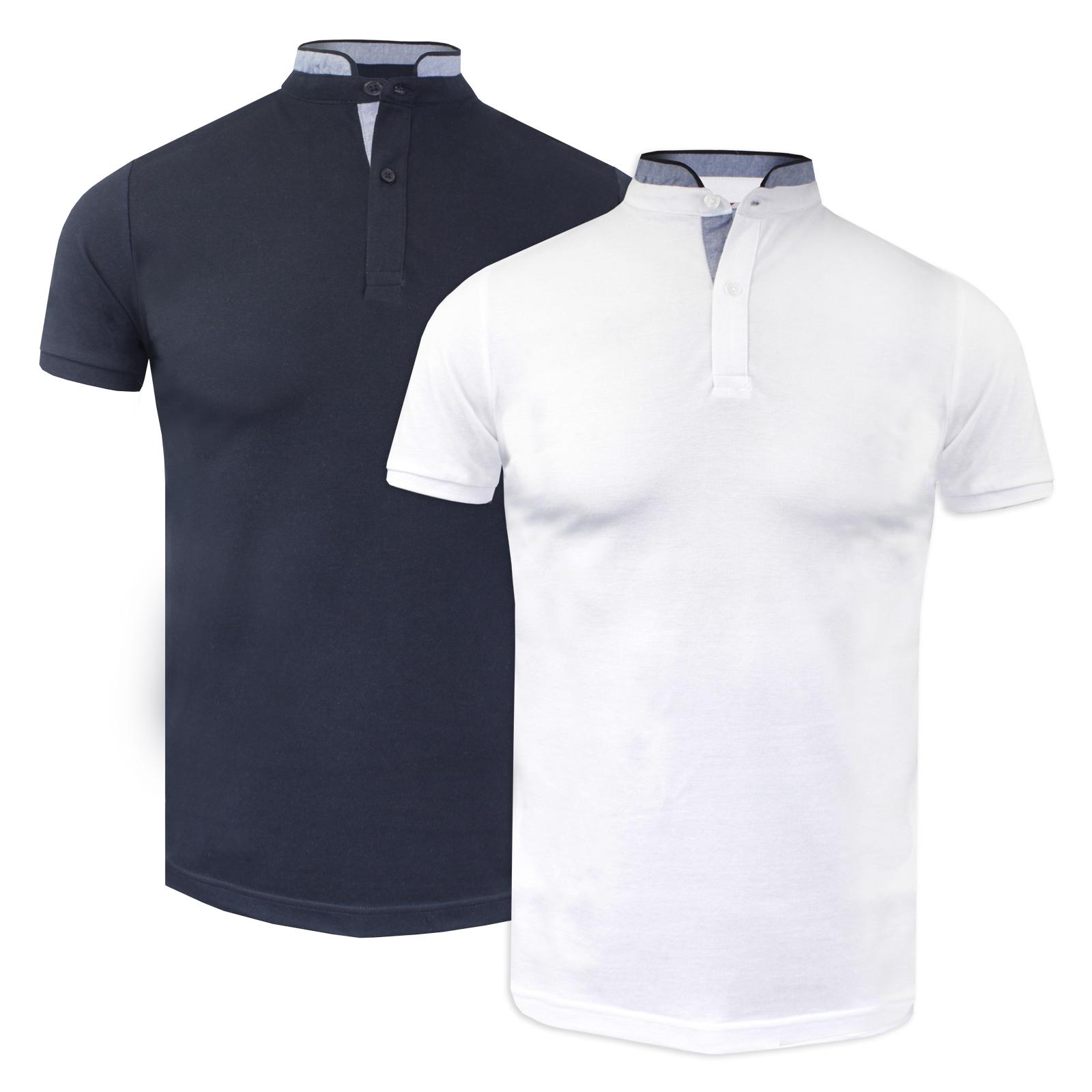 57e429f6 Details about Men's Brave Soul Pin Stripe Grandad Collar Cotton Polo Shirt  NEW SS18