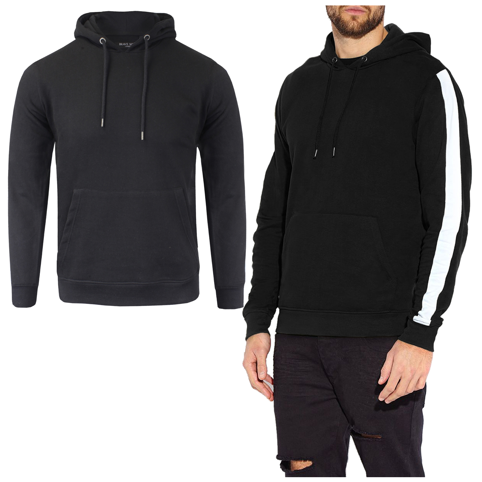 Men/'s Brave Soul Cotton Contrast Stripe Hooded Sweatshirt SS18 Sizes S-XL