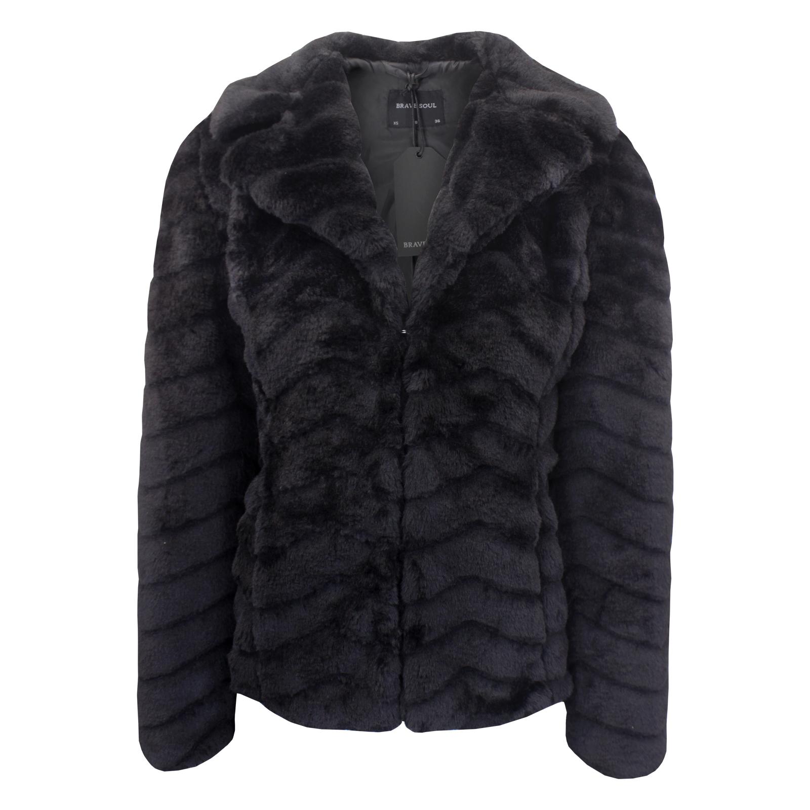 a49357dc1 Details about Women's Brave Soul Short Hem Luxury Soft Touch Faux Fur Jacket  NEW UK 8-16