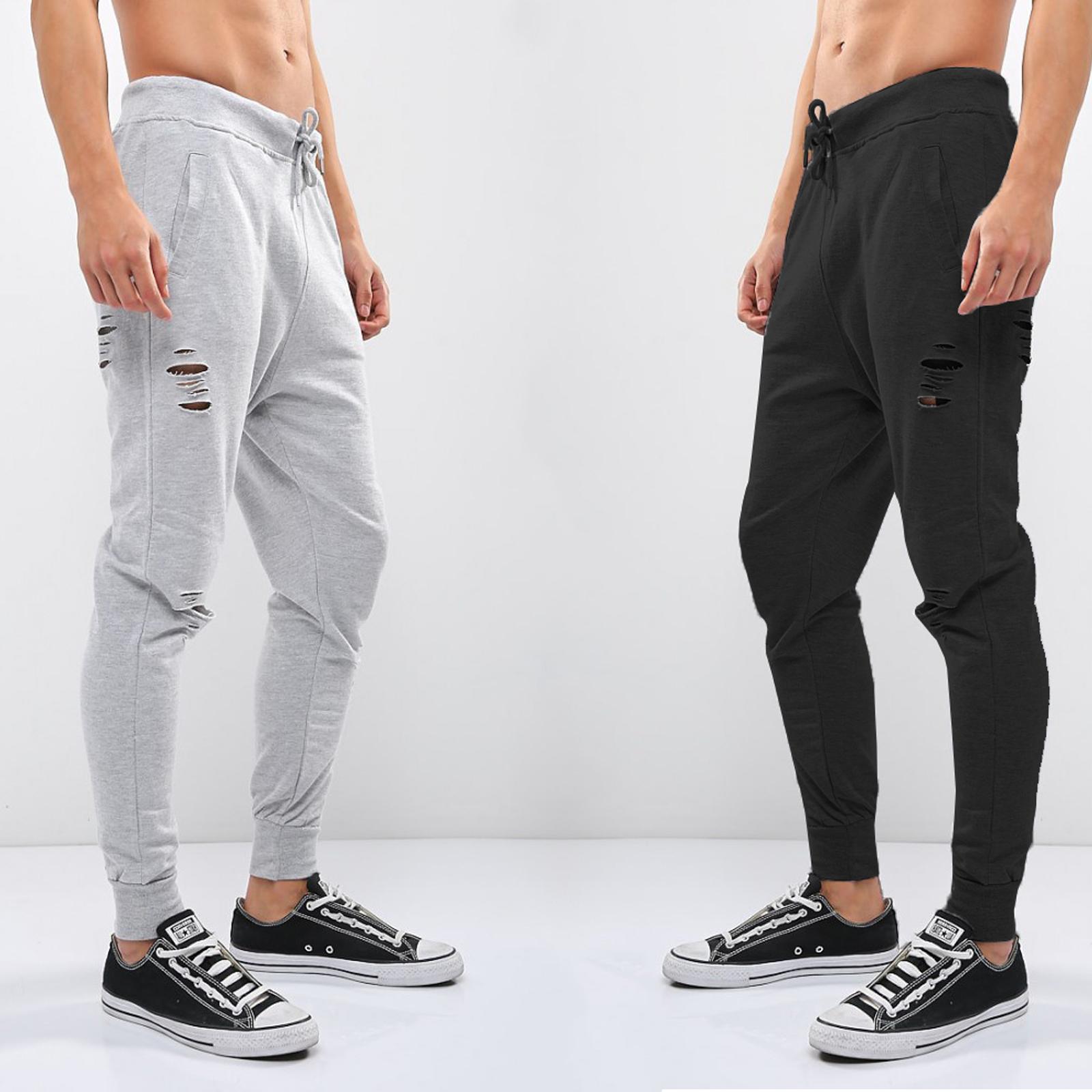 c94c9971 Details about Men's Brave Soul Distressed Joggers Black & Grey NEW Sizes  S-XL