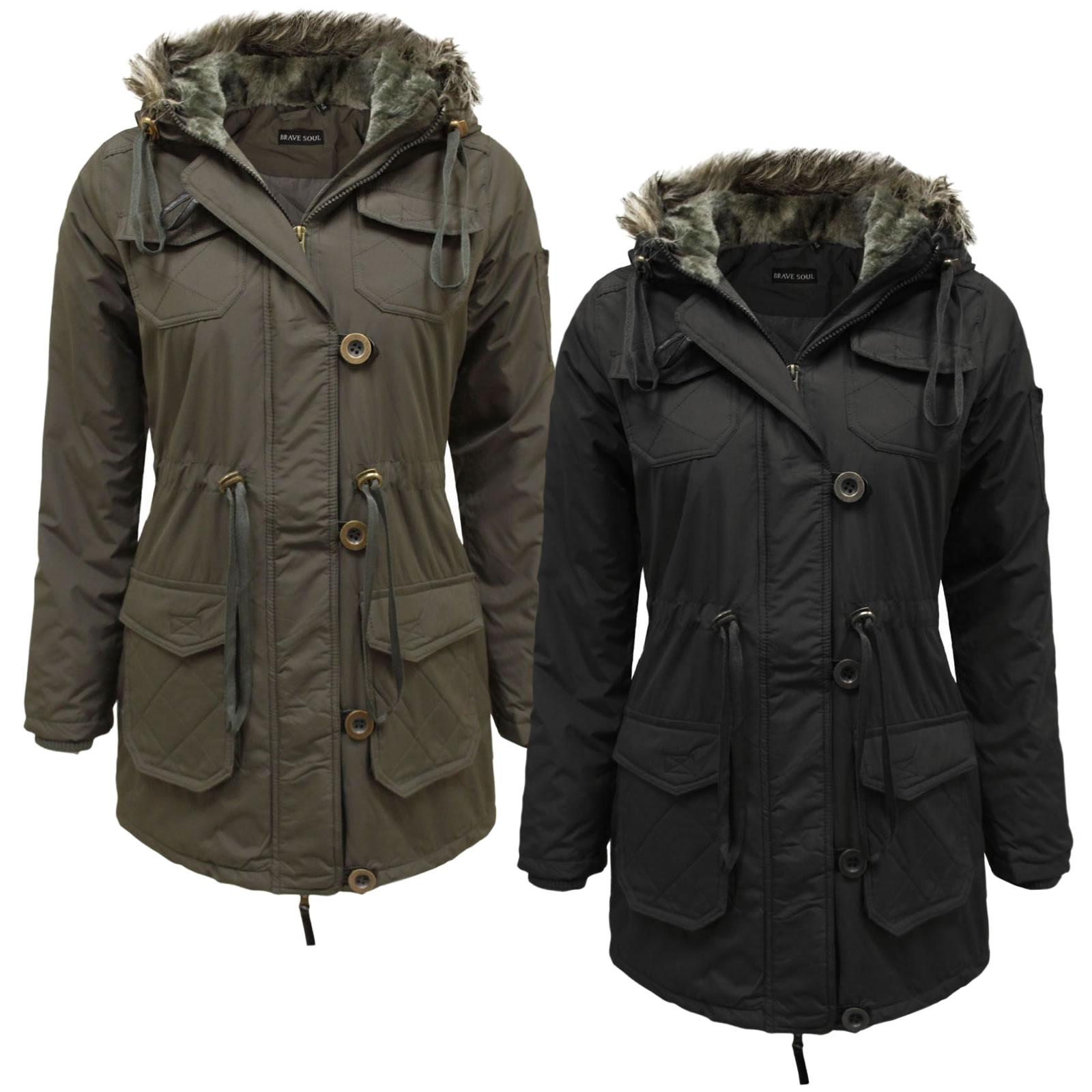 6647e7d2fd Details about Womens Brave Soul Camden Faux Fur Quilted Parka Winter Coat |  Clearance Item