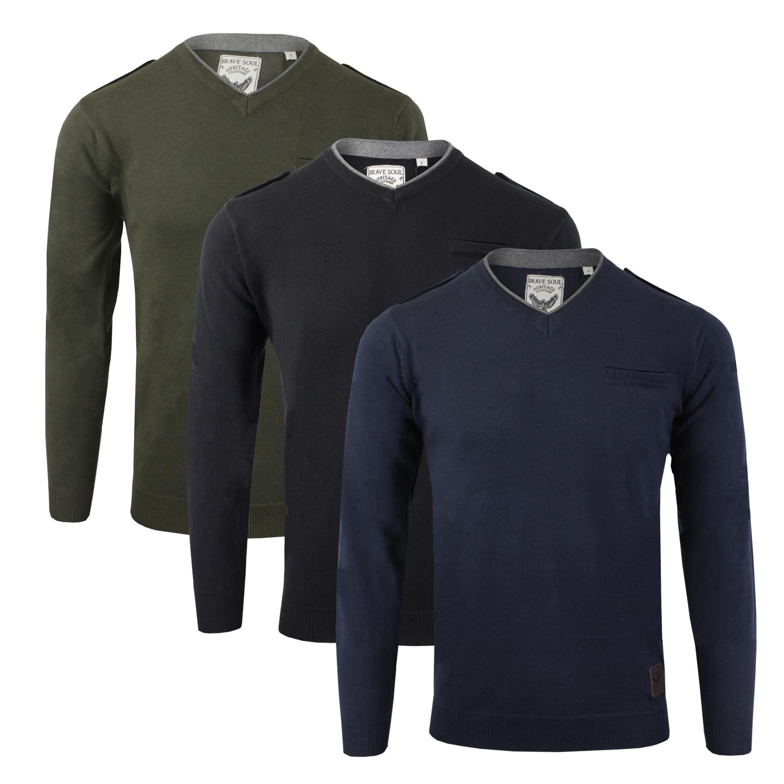 Mens Jumper Brave Soul /'Olga/' V Neck Sweater Cotton Knitted Pullover S XL
