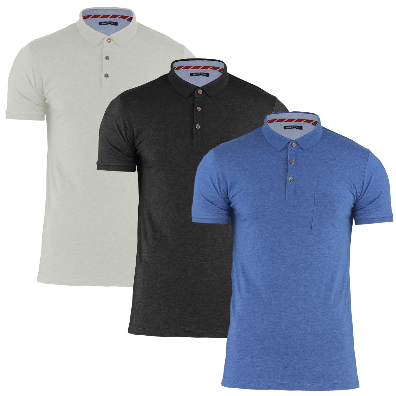Mens Polo Shirt by Designer Brave Soul Pique Cotton Short Sleeved T-Shirt S-XL