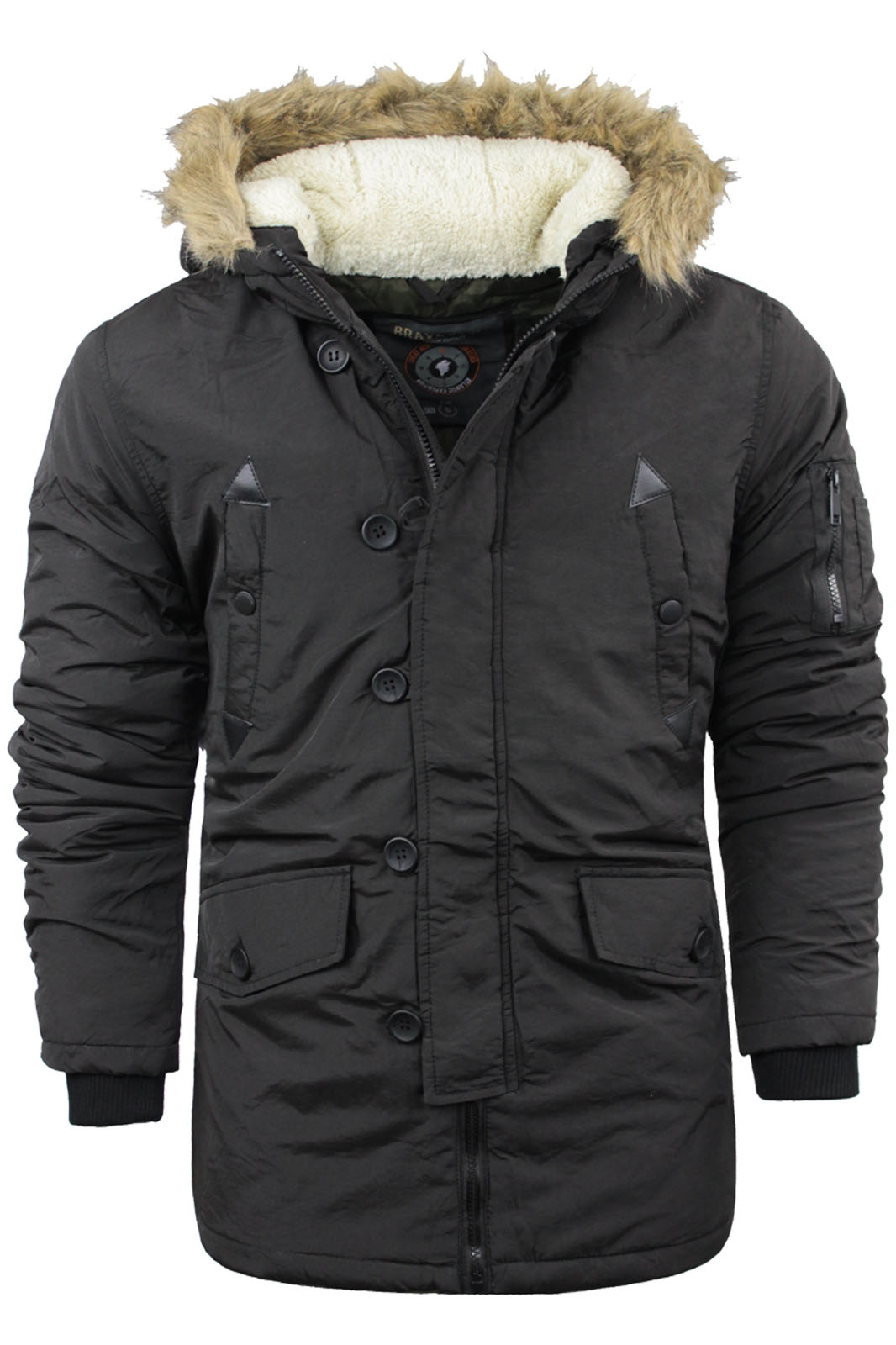 Mens Brave Soul Parka Parker Padded Lined Winter Jacket