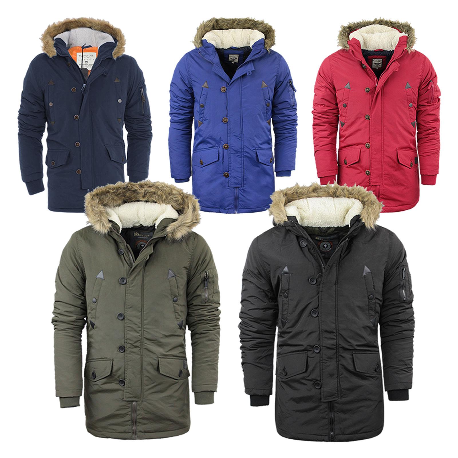 c4455fbb6af05 Details about Mens Brave Soul Parka Parker Padded Lined Winter Jacket Faux  Fur Hooded Coat