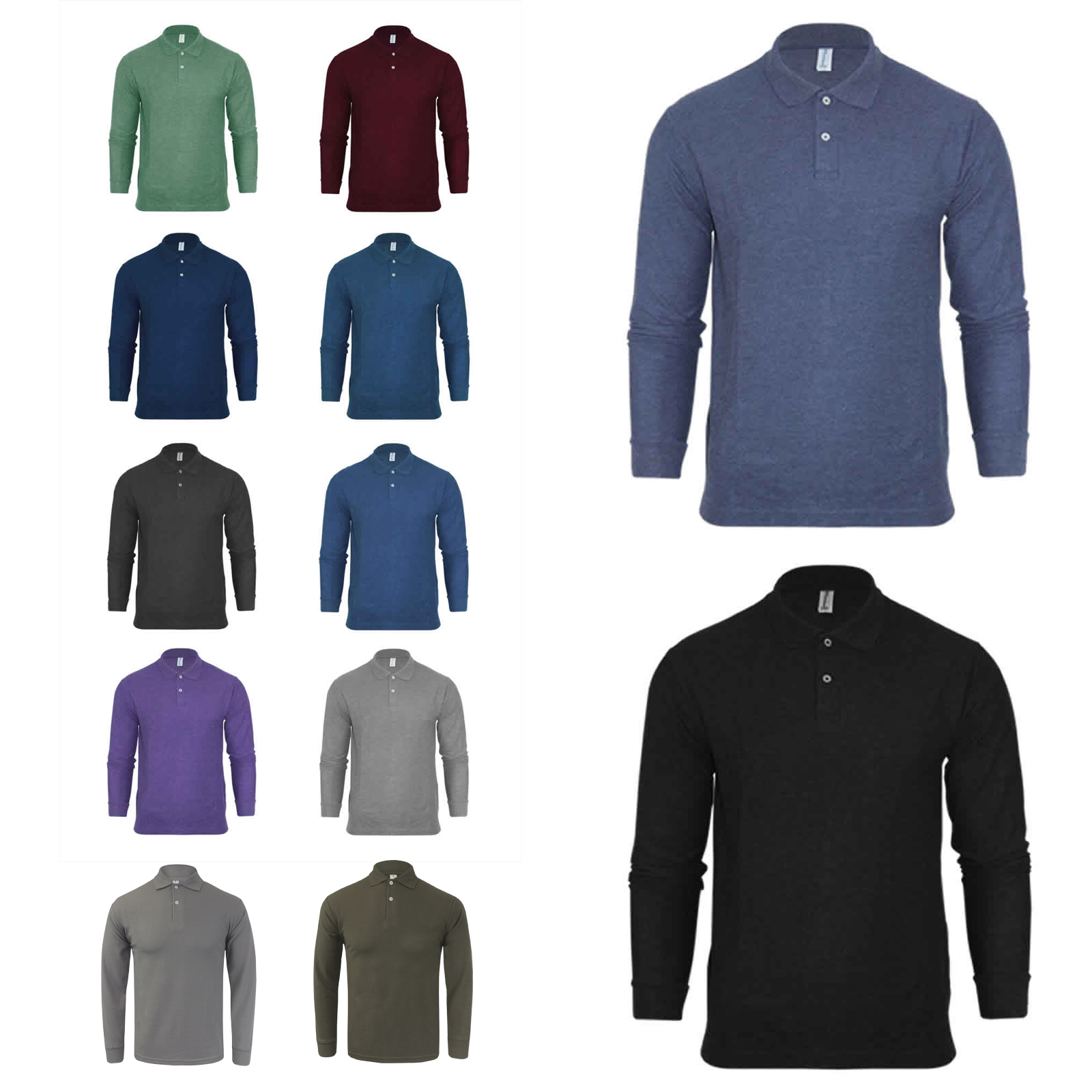 617d42b4f Details about Mens Plain Long Sleeve Collared Knitted Polo Shirt NEW Sizes  M-XXL