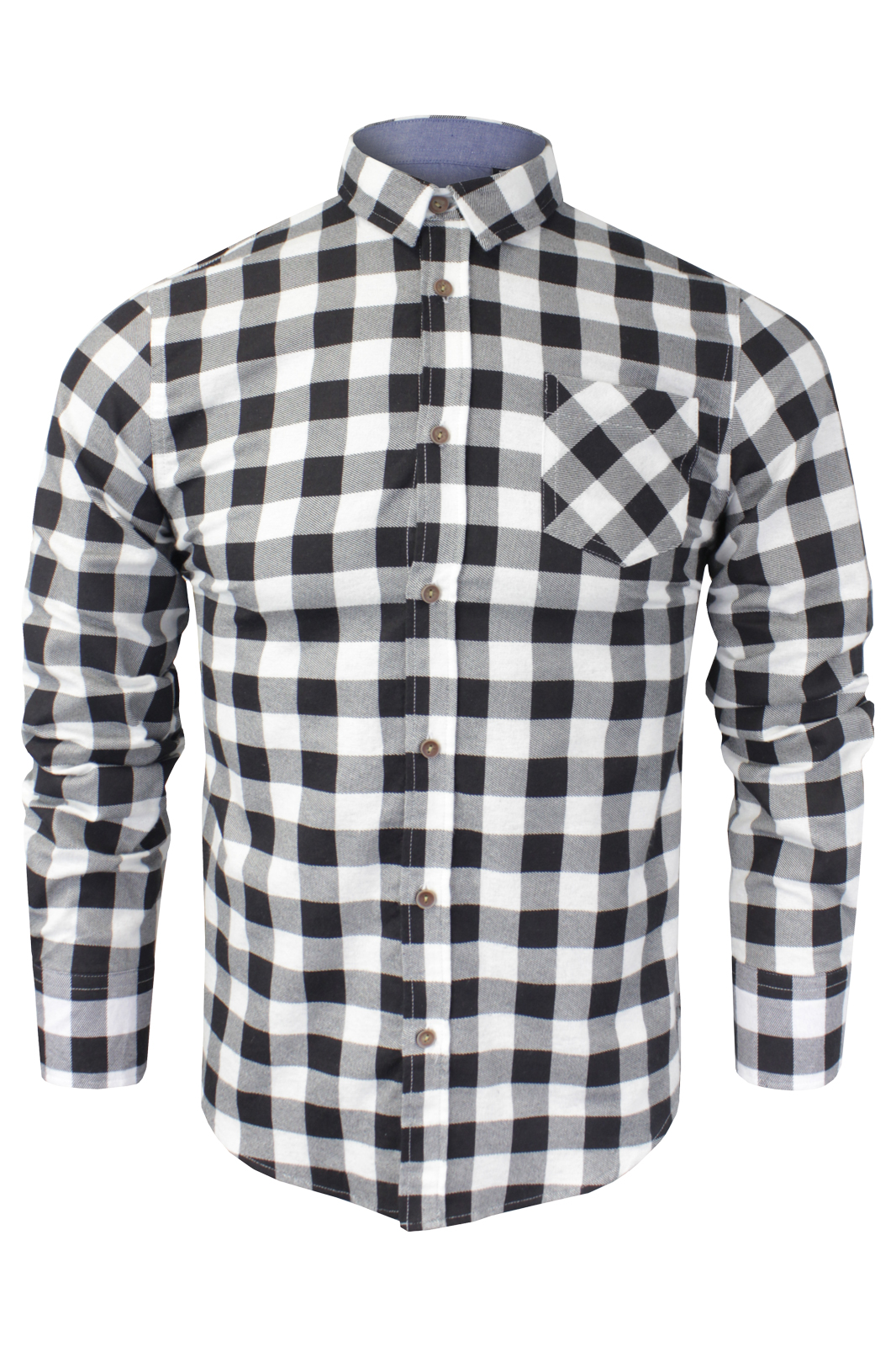 MENS LONG SLEEVE SHIRT BRUSHED COTTON FLANNEL CHECK LUMBERJACK CASUAL TOPS S-XL