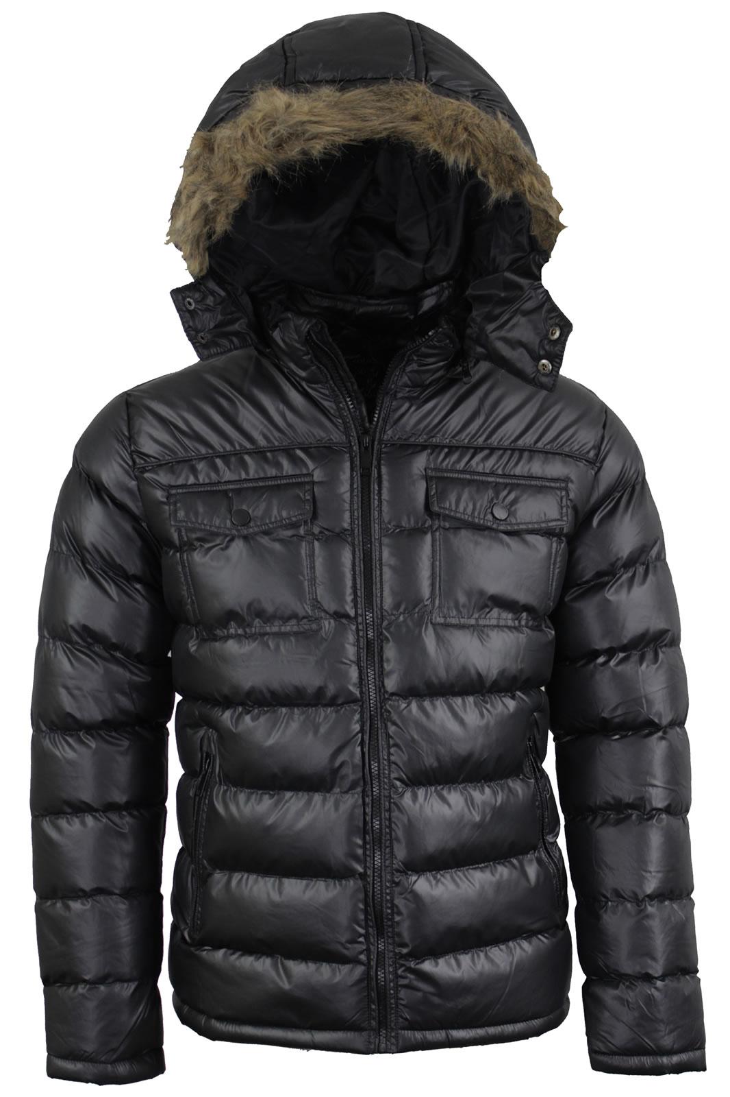 ad5313af3 Details about Mens Brave SouL Faux Fur Hooded Winter Puffer Jacket In Black  AW18