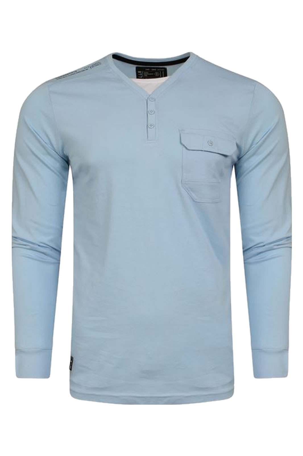 Mens Dissident Whyer Long Sleeve  Y Neck Cotton TopClearance Item