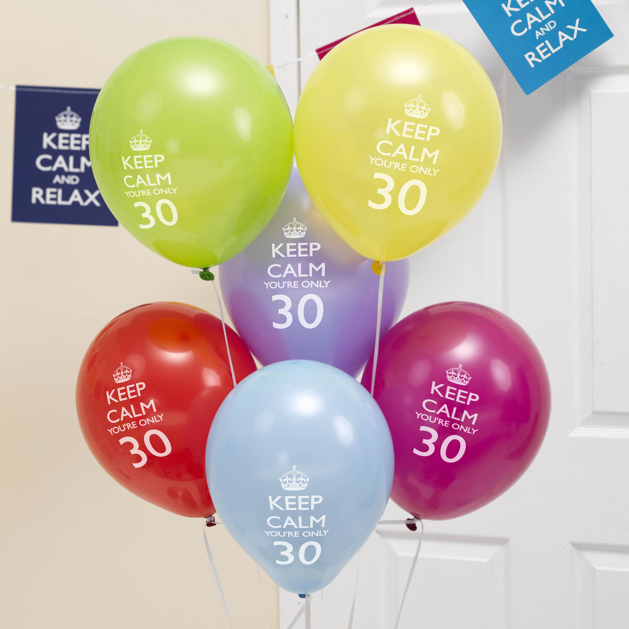 8 x 30th Birthday Balloons Keep Calm & Party Decorations you re