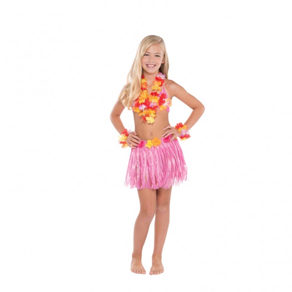04346fa3f3b86 HAWAIIAN FANCY DRESS CHILDS PINK Set Skirt Bra Leis COMPLETE SET Luau  Costume Sc 1 St EBay
