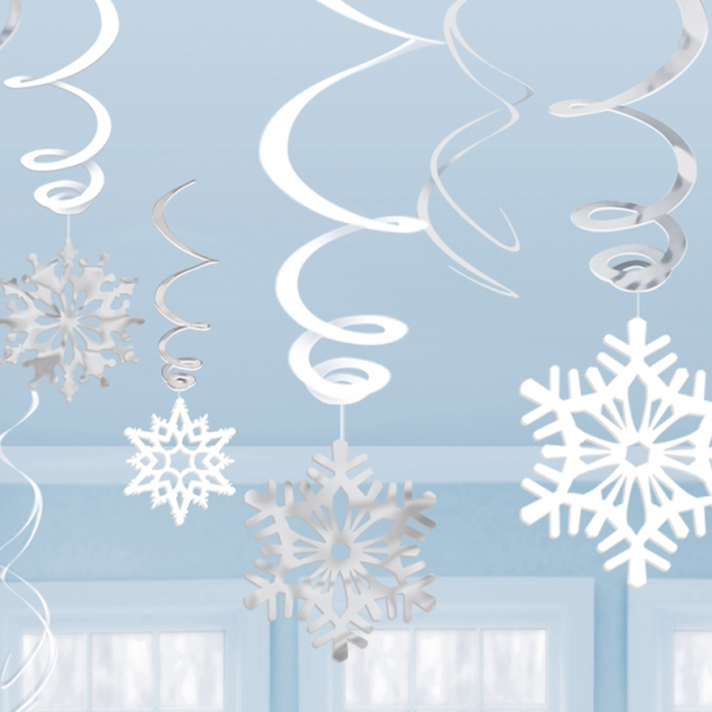 12 X Christmas Hanging Snowflake Swirls White Silver Party