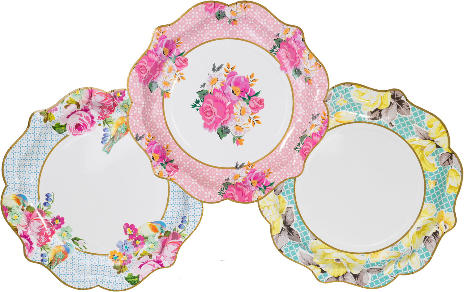 12 Luxury Vintage Style Afternoon Tea Medium paper Plates Shabby Chic 3 designs  sc 1 st  eBay : shabby chic paper plates - Pezcame.Com