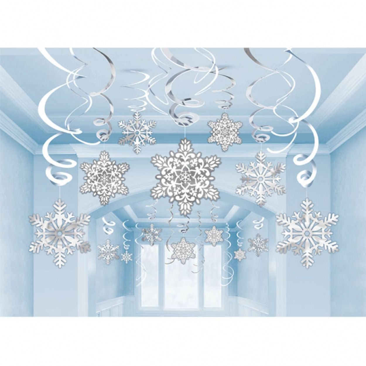30 X Hanging Christmas Snowflake Foil Swirl Party Decorations