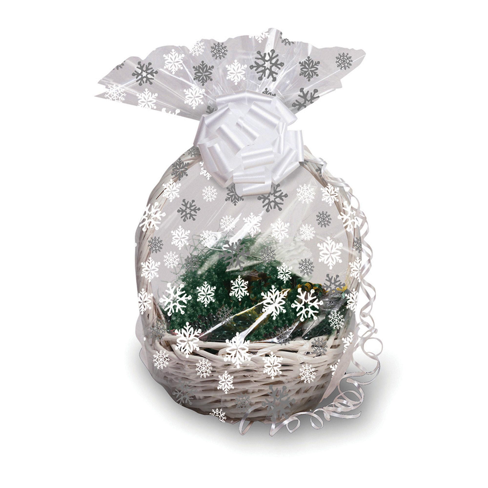 Details About Christmas Snowflakes Hamper Wrap Cellophane Basket Gift Wrap Large Cello Bag