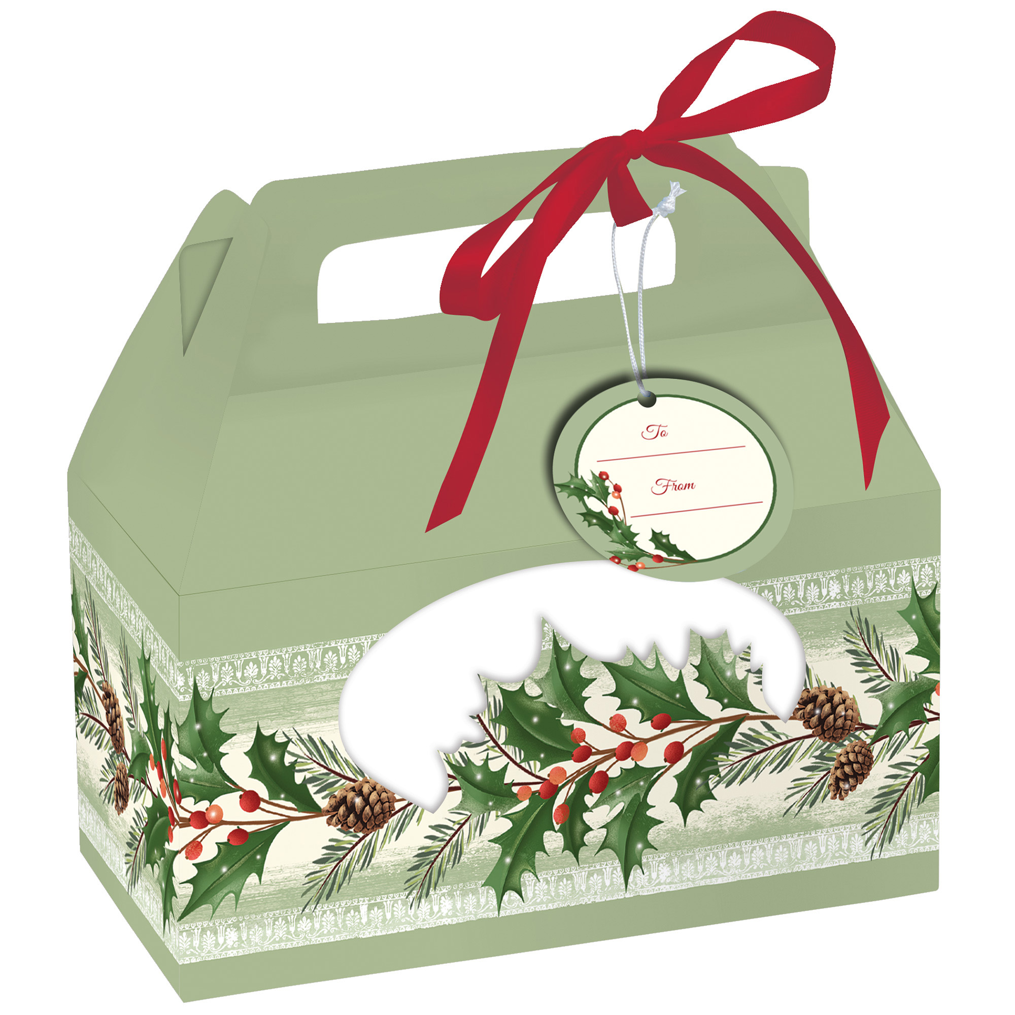 Christmas holly pine cookie boxes gift