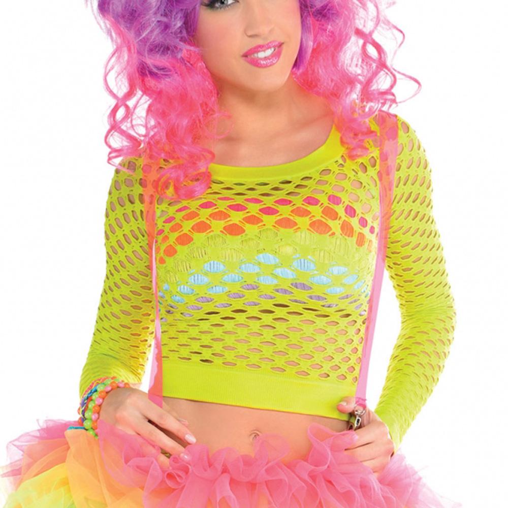 Ladies Fancy Dress Electric Coloured Fishnet Top Madonna