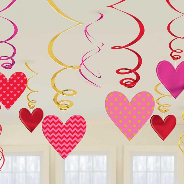 12 X Valentines Hearts Hanging Swirls Decorations Bumper