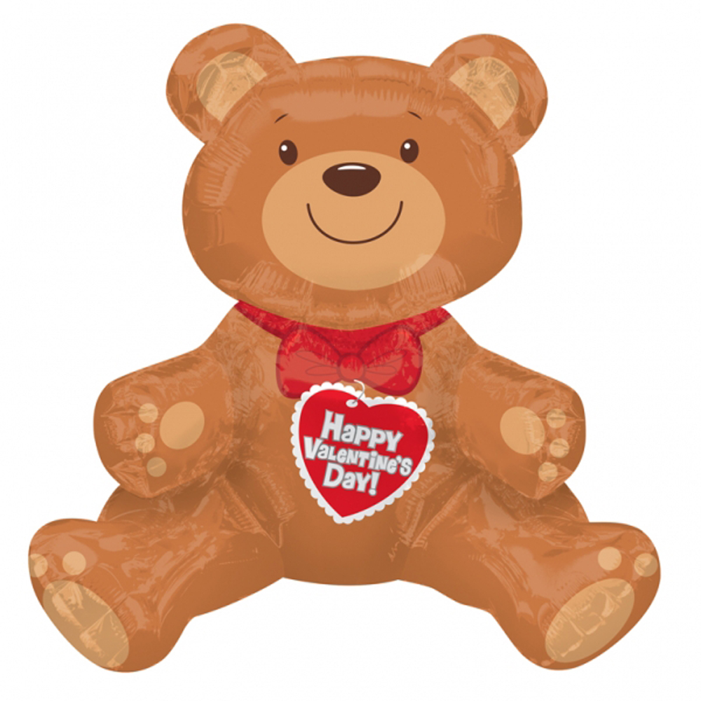Large Happy Valentines Day Teddy Bear Balloon Air Self Fill Balloon