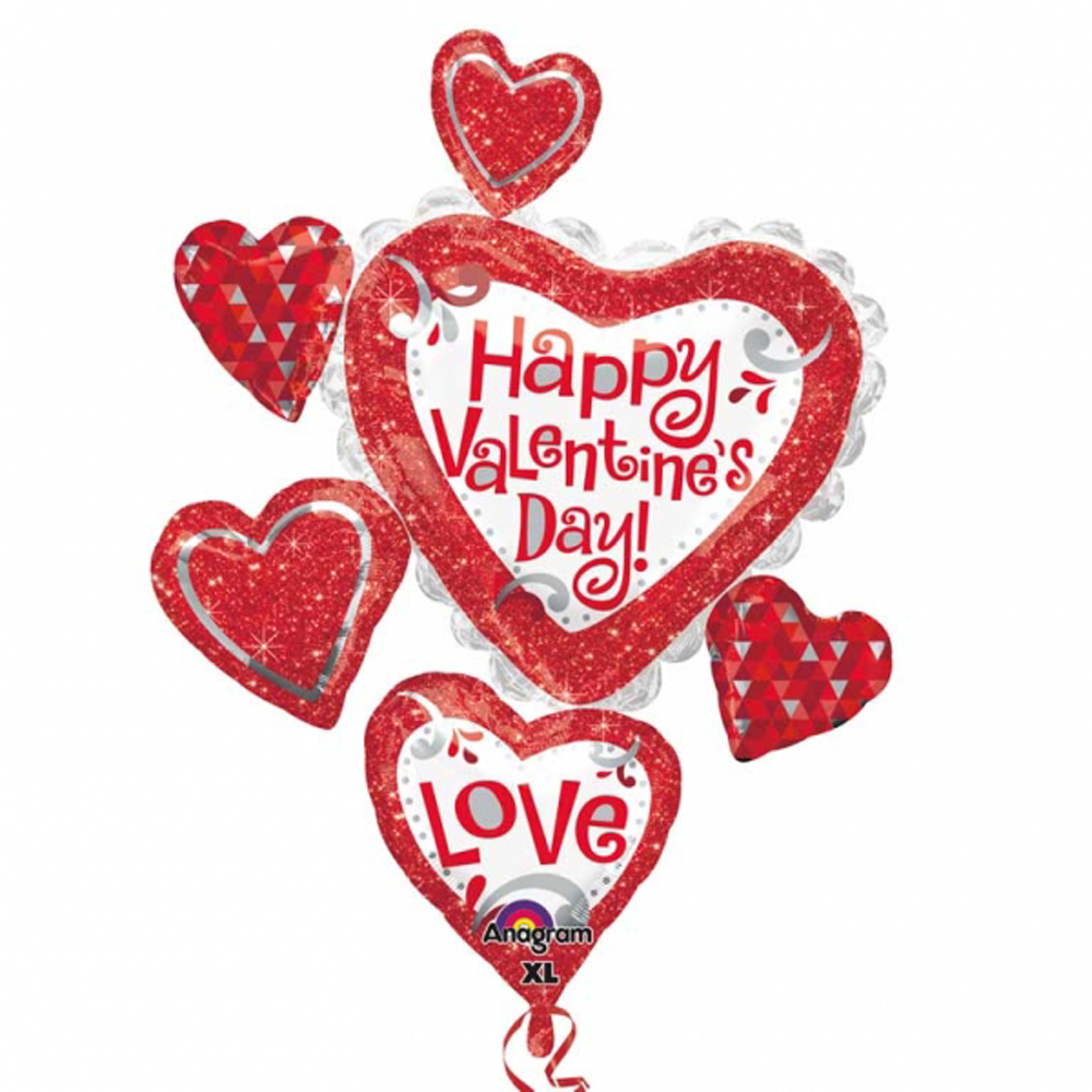 happy valentine's day love balloon helium fill multi heart cluster